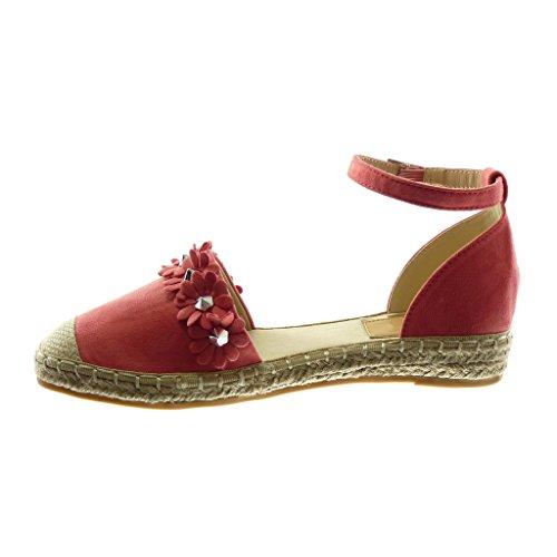 Angkorly Damen Schuhe Sandalen Espadrilles - Knöchelriemen - Blumen - Nieten - Besetzt - Seil Blockabsatz 3 cm Fushia