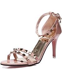Womens Strappy High Heel Sandalen Schuhe Peep Toe Party Sommer Feinen Fisch Kopf mit Nieten,Pink-34