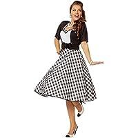 Damen Karneval Fasching Verkleidung K 50er Jahre Tellerrock für Damen weiß NEU