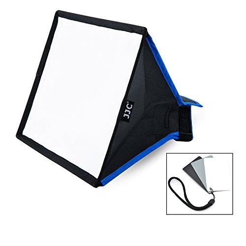 JJC Blitz Soft box Speedlight Diffusor Kit mit Weißabgleich und Graukarten für Universalhalterung Canon Nikon Sony Yongnuo Blitzgerät (Softbox Größe 9.1 x 7.1inch / 230 x 180mm)