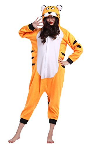 Kigurumi pigiama animali adulto unisex pigiama party halloween sleepwear cosplay costume onesie, arancione tigre