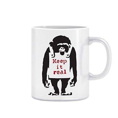 Banksy Monkey Keep It Real Design | Urban Art Keramik Tasse Office, Home Geschenk - 11oz Mug (Keramik Monkey)