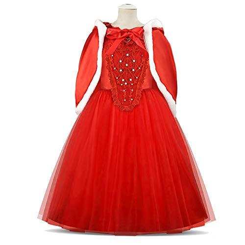 discoball Mädchen Elsa Kleid Eiskönigin Cinderella Prinzessin Kostüm mit Umhang für Karneval Weihnachten Halloween Cosplay Party (Rot, 5-6 - Cinderella Mäuse Kostüm