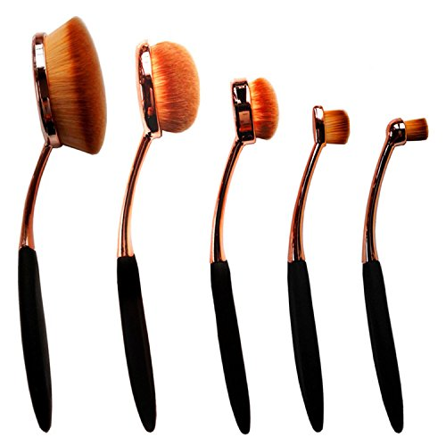 NALATI 5 Pcs Maquillage brosses à dents/Ovale Pinceau De Maquillage Pinceaux Set-Ensemble brosse à dents sourcil foundation de l'eye-Liner lip ovales-Pinceaux Cosmetic Curve Petite