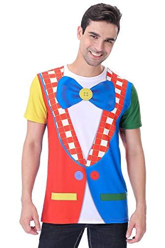 COSAVOROCK Herren Clown Kostüm T-Shirts (L) (Kostüm Adult T Shirt Tee)