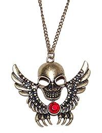 Bronce antiguo Flying calavera con garras larga collar con una sola Ruby cristal (se envía en una bolsa de regalo) joyas únicas
