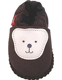 Plateau Tibet - Bottines chaussons pour bébé avec doublure en VERITABLE laine d'agneau - Ourson - marron foncé 16 17 18 19