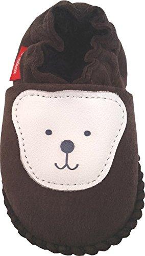 Plateau Tibet - Chaussons Chaussures bébé en cuir souple avec doublure en VERITABLE laine d'agneau bottines garçon fille enfant - Ourson - marron foncé