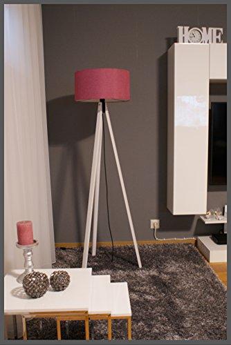 Tripod Lampe Stehlampe Standleuchte Stehleuchte Deckenfluter / gewebter Stoffschirm Pink / Weiß / H: 150cm Samarkand-Lights