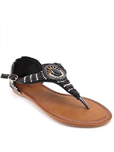 Cendriyon, Tong Colors Zèbre Strass AZOLA Mode Chaussures Femme Noir
