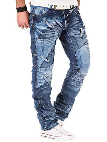 Kosmo Lupo Herren Jeans Denim Hose K&M Designer Jeans Clubwear Japan Style Verwaschen (Blau M2, 32W / 32L) Jeans Designer-jeans