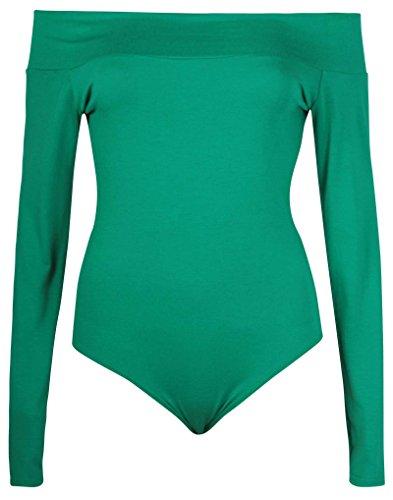 Damen Body einfarbig langärmelig schulterfrei dehnbar Druckknopf-Verschluss Jadegrün