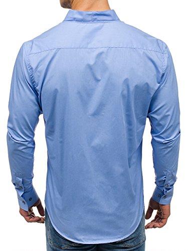 BOLF Camicia – A manica lunga – Con bottoni – Colletto alla coreana – Arrotondata – Slim fit – Casual style – Da uomo 2B2 Celeste