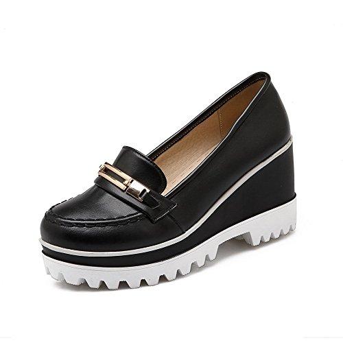 AllhqFashion Femme Matière Souple Rond à Talon Haut Tire Couleur Unie Chaussures Légeres Noir