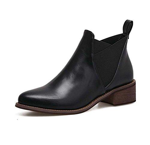 3.5cm Chunkly Heel Chelsea Stiefel Martin Stiefel Wommen Handsome spitze Zehe reine Farbe elastische Band Kleid Stiefel Court Schuhe Eu Größe 35-40 ( Color : Black , Size : 38 ) -