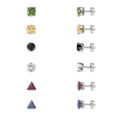 Domybest 6 Paar Frauen Bunte Kristall Ohrringe Set Geometrie Kubikzircon Ohrstecker