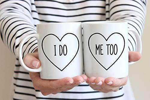 Alicert5II Ich tue Mir auch Herz Kaffeetassen Hochzeitsgeschenk Jahrestagsgeschenk Paare Tassen Hochzeitsgeschenk Braut und Br?utigam Engagement Geschenk