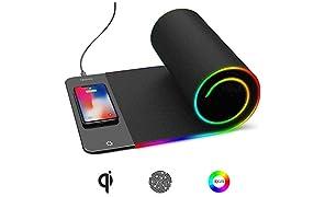 Ricarica wireless Tappetino per Mouse RGB da Gioco Tappetino per Video Giochi Mouse Pad Antiscivolo QI Tappetino di ricarica veloce, LED a sette colori,Formato Super Grande,Panno Nero