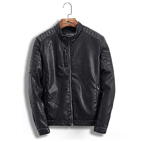 r Rock-Lokomotive Gewaschen Leder Kleidung - Stand Kragen Pu Lederjacke Männer - Jugend Jacke Leder,schwarz,S ()