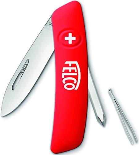 Felco Coltello tascabile, coltello pieghevole, coltello (4 funzioni incluso cacciavite Lama robusta in acciaio inossidabile Impugnatura antigraffio) 502, rosso