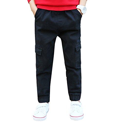 YoungSoul Kinder Jungen Chino Hosen Skinny Jogginghosen mit Cargo-Tasche Schwarz Etiketten 120 Jungen Jogginghose Cargo