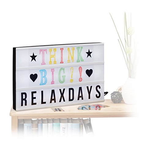 Relaxdays Light Box groß, LED Leuchtkasten, Buchstaben, Symbole, USB Anschluss, HxBxT: 30,5 x 50 x 4,5 cm, weiß/schwarz