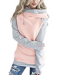 ECOWISH Damen Kontrastfarbe Pulli Pullover Rollkragen Sweatshirt Kapuzenpulli Top Hoodies