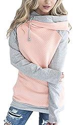 ECOWISH Damen Kontrastfarbe Pulli Pullover Rollkragen Sweatshirt Kapuzenpulli Top Hoodies Rosa M
