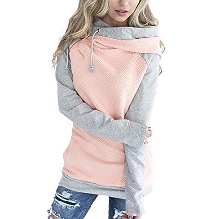 ECOWISH Damen Kontrastfarbe Pulli Pullover Rollkragen Sweatshirt  Kapuzenpulli Top Hoodies 68bb2fa991