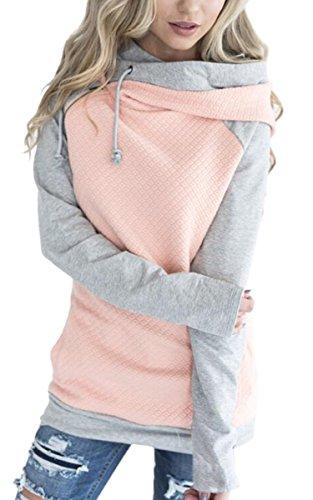 ECOWISH Damen Kontrastfarbe Pulli Pullover Rollkragen Sweatshirt Kapuzenpulli Top Hoodies Rosa S