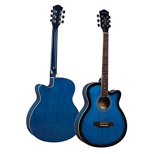 LCDY Guitarra Acústica De Haya De 40 Pulgadas Practica Principiante Estudiante Adulto Instrumento De Guitarra. Falta Principiantes Guitarra De Madera Lateral Color Brillante,Blue,102 * 49 * 47CM