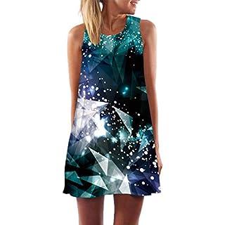 iHENGH Damen Sommer Rock Lässig Mode Kleider Bequem Frauen Röcke Lose Sommer Vintage Sleeveless 3D Print Bohe Tank Kurzes Minikleid(Blau, M)