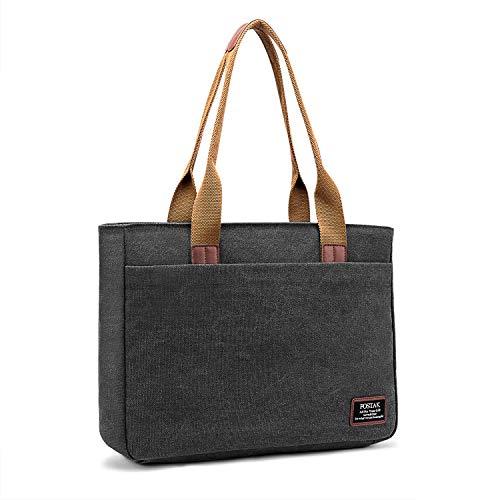 DTBG Damen Laptop Tasche Umhängetasche Reisetasche stilvoll Shopper tragbar Frauen Tasche Arbeitstasche / 15,6 Zoll Laptoptasche kompatible with MacBook, Leinwand Schwarz -
