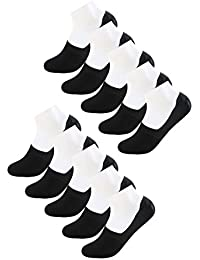sourcingmap® Hommes d'anti-dérapage invisibles Chaussettes Bateau Gel silice 10 Pack taille 13-15