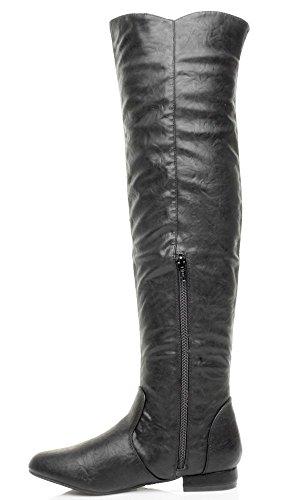 Womens ladies tacco basso basse sopra al ginocchio elasticizzato cerniera stivali da equitazione misura NERO OPACA