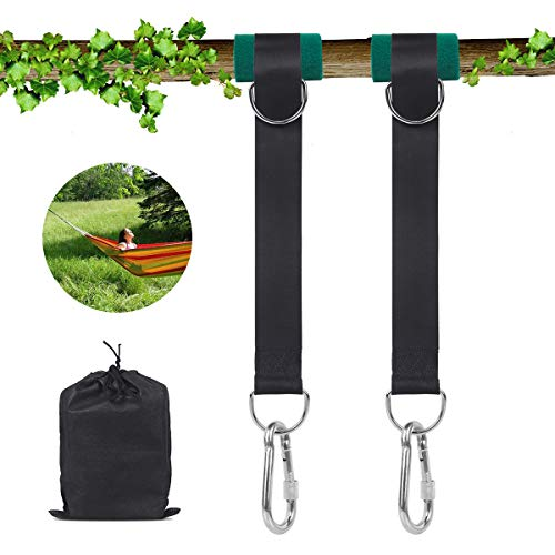 SanGlory Hängematte Befestigung, 1 Paar Schaukel Befestigungsset Nylon Schaukel Aufhängung Baum Riemen Kit mit 2 Schwerlast Karabinern und 2 Baumschutz Polster, hält bis zu 500 kg mit Tragetasche -