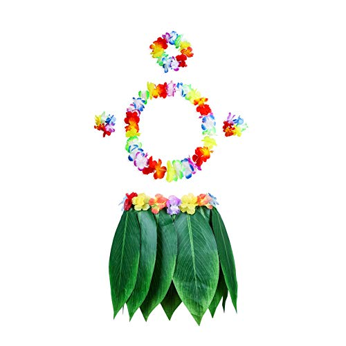 pangmao Hawaiian Leaf Rock mit Flower Party Fancy Kleid für Hawaii Sommer Strand Tropical Hawaii-Party