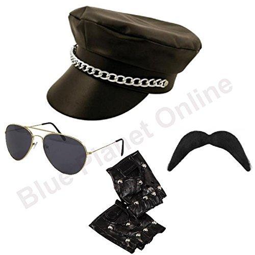Kostüm Planet Fancy Dress - Blue Planet Online - Leather Look Biker Hat, Sunglasses, Gloves & Moustache YMCA Gay Pride Fancy Dress by Blue Planet Online