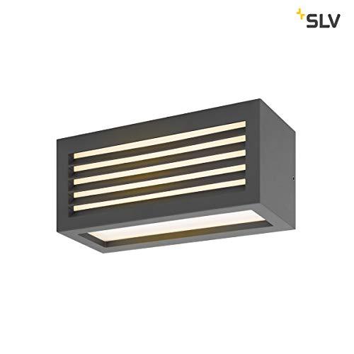 SLV Wandlampe BOX-L anthrazit | effektvolle Außenbeleuchtung von Hauseingang, Wänden, Wegen, Terrassen, Fassaden, Treppen | LED Wandleuchte, Aussen-Leuchte LED, Garten-Lampe | LED Inside, 19W, EEK A++ -