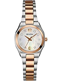 Bulova Diamond Gallery Women's Quartz Watch with Mother of Pearl Dial Analogue Display and Two Tone Stainless Steel Bracelet 98S143