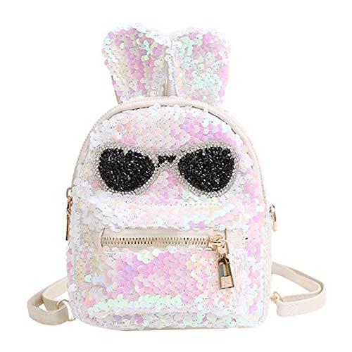 OneMoreT Glänzende Mini-Pailletten-Rucksack mit Stickerei-Brille, niedliche Hasenohren, Glitzer Schultertaschen für Frauen Mädchen Reisetasche Bling weiß