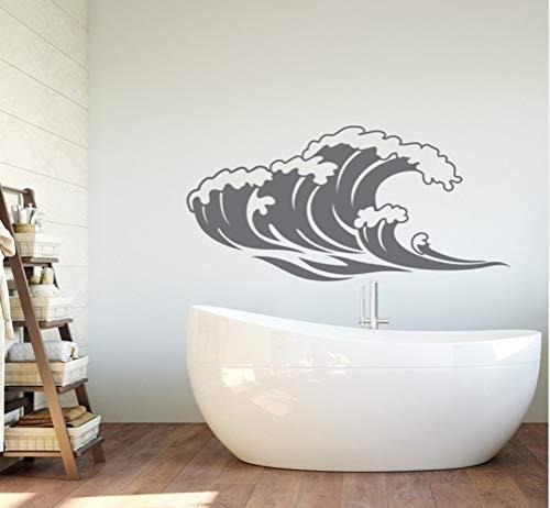 en Wandaufkleber für Bad Meer Natur Wandtattoo Schlafzimmer Strand Themen Welle Room Decor Wasserdichte Tapete86 *42 cm ()