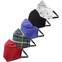 Amazon Brand - Symbol Men's cotton Cloth Face Mask (Pack of 5) (SMK-02-PO5-DD_Multicoloured_One Size)
