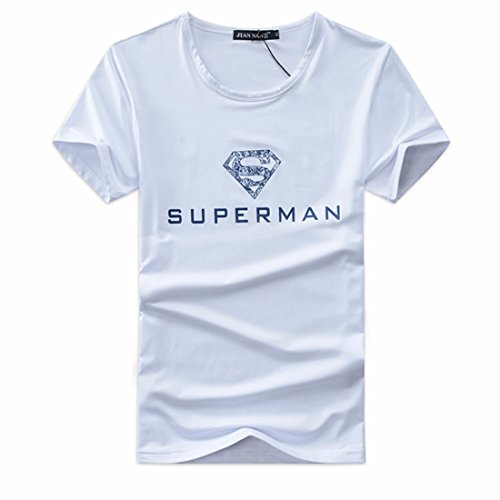 Men's Diamond Printed Korean Elasticity Casual Tee Shirt white