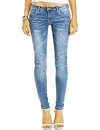 Bestyledberlin Damen Röhrenjeans, Enge Skinnyjeans, Super Slim Fit Biker Look Jeans j60f