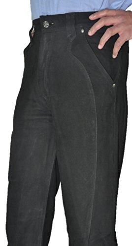 """""""Fuente"""" Pantalon en cuir homme-femme, charpentier Pantalon en cuir noir pour homme casual Motard jean en cuir Moto, Lederhose, Chasse- Noir Noir"""