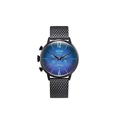 WWRC401 Welder Moody - Reloj para hombre en acero con acabado IP azul, con crono y calendario. Armys tipo malla.