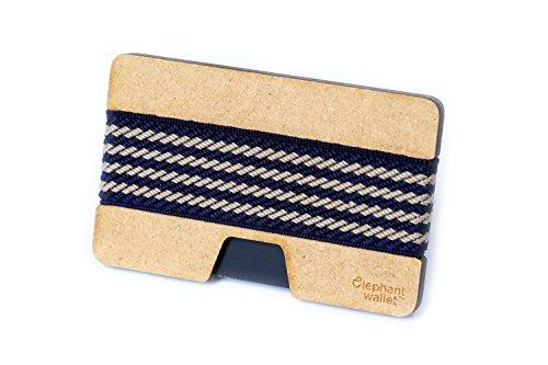 Elephant Wallet N Mini Geldbörse Small Portemonnaie Kleines Portmonee Minimalisten Kartenhalter präsentiert von becoda24 in versch. Farben (Wood - Navy) (Farbe Wallet Mini)