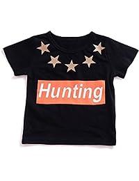 Baby Boy Girl camiseta de manga corta Top Stars letra de caza impresa traje de moda