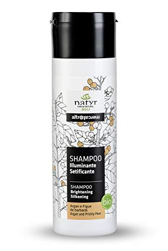 BIO Pflege-Shampoo mit Arganöl und Feigenkaktus ohne Silikone ✔ für Gefärbte, Behandelte, Strapazierte Haare ✔ Natyr - Fair Trade Naturkosmetik aus Italien ✔ 200ml